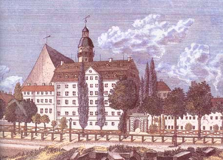 Bach's Thomasschule building from outside the city wall - St Thomas School